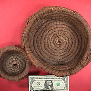 SALE Two vintage mid 1900s (or older )coiled pine needle baskets from the South or SE US
