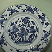 SALE c1735 Chinese Export Porcelain Blue & White Plate Sacred Rock & Foliage