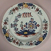SALE c1755 English Lambeth Delft Plate with Five Color polychrome Oriental Garden motif