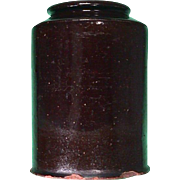 SALE c1820 American hand thrown redware storage jar with dark manganese glaze