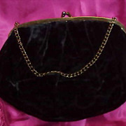 Vintage True Black Velvet Evening Bag