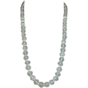 Striated Milky Opaque Glass Bead Art Deco Necklace