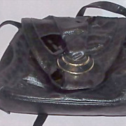 Vintage Black Leather/Black Patten SHARIF Handbag