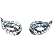 "SALE Stunning TRIFARI ""Cat's Eyes""  Rhinestone Earrings"