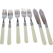 REDUCED Highly Etched EPNSS French Celluloid Handled Knives & Forks