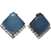 Stunning CORO Blue/Gray Thermoset and Rhinestone Earrings