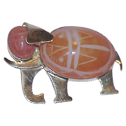 REDUCED Gold Filled Carnelian Agate Elephant Brooch