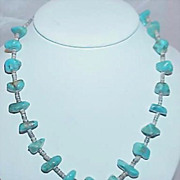 SALE Native American Artisan Made 1970s Turquoise Nugget Stone Necklace