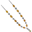 Gorgeous Butterscotch Oval Glass Bead Silvertone Necklace