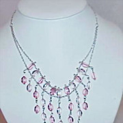 SALE Beautiful Artisan Made Pink Crystal Drop Necklace