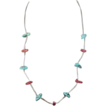Vintage Artisan Native American Turquoise and Coral Stone Necklace