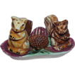 SALE Vintage JAPAN Majolica Squirrel with Stand Salt and Pepper Shakers