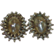 Vintage BERGERE Silvertone Faux Pearl Button Style Earrings