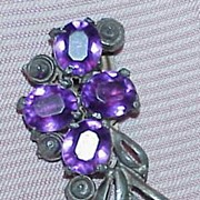 "SALE Art Deco Purple Rhinestone Pot Metal ""Czech"" Dress Clip"