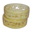 Ivory Yellow Colored Celluloid Wide Panel Cut Out Bangle Bracelets (2)