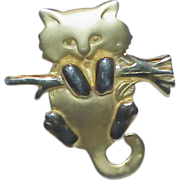 REDUCED Whimsical Cat on a Branch Brooch