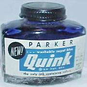 "Vintage Parker ""Quink"" Royal Blue Ink Bottle with Ink"