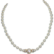 REDUCED Vintage NOLAN MILLER Glass Pearl Strand with Fancy Clasp