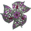 Incredibly Stunning Pink and Red Rhinestone Brooch