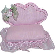 REDUCED Vintage Pink Grosgrain and Voile Love Seat Pin Cushion
