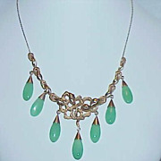 REDUCED Elegant Art Nouveau Chrysoprase and 14k Gold Necklace