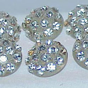REDUCED Six Stunning Early Plastic Rhinestone Buttons