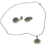 REDUCED Stunning SORRENTO Sterling Vermeil Jade Pendant Necklace and Earrings-Demi Parure