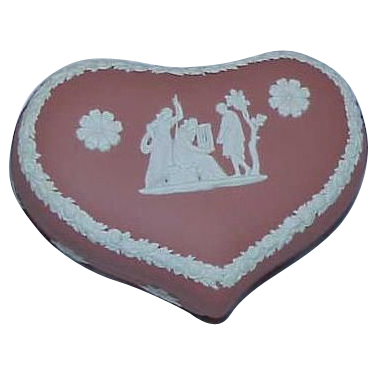 Rare Terracotta Wedgwood Heart Shaped Trinket Box