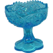 Gorgeous Depression Era Cut Glass Bright Blue Pedestal Bowl
