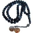 Mottled Black Glass Prayer Beads