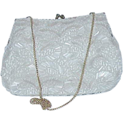 Gorgeous White Bugle Bead White Satin Evening Bag