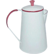 Vintage White Enamel on Metal Coffee Pot