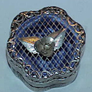 Unusual Silver Tone Mesh  Trinket Box