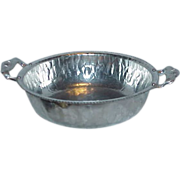 Elegant Art Deco Aluminum Hammered Serving Bowl