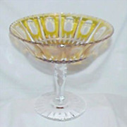 Elegant Crystal Thumb Print Design Amber/Golden Yellow Pedestal Bowl