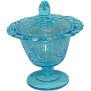 "Stunning Aqua Blue Depression Glass ""Grape Design"" Lidded Pedestal Candy Bowl"