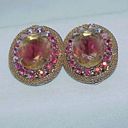 Stunning Golden Yellow Rhinestone Aurora Borealis Earrings