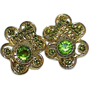 Luscious Green Rhinestone Elegant Earrings