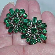 Gorgeous Deep Green Rhinestone Pin  Wheel Style Earrings