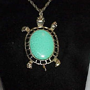 Silvertone Faux Turquoise Turtle Pendant on Chain