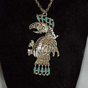 Unusual Faux Native American Faux Turquoise Eagle/Hawk Pendant on Chain