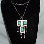 Unusual Figural Faux Turquoise Pendant on on Chain