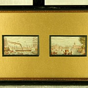 SOLD RARE!  Circa 1860 George Baxter Watercolor Miniature Etchings