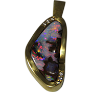 STUNNINGLY IRIDESCENT!  18K Yellow Gold Free Form Bolder Opal & Diamond Enhancer Pendent