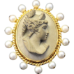 MASTERPIECE! 18 K Yellow Gold Vintage Brooch,  with Antique Italian Hand Carved Lava Cameo, Yellow Gold & Pearls