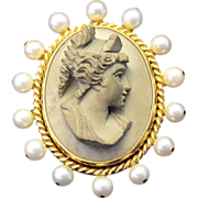 MASTERPIECE! 18 K Yellow Gold Vintage Brooch,  with Antique Italian Hand Carved Lava Cameo, Ye