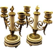 Superb  Pair of  Napolean III Ormolu  & Marble Two Arm Candleabra