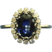 Stunning Estate &quot;Diana&quot; Sapphire & Diamond Cluster 18K Yellow Gold Ring
