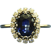 "Stunning Estate ""Diana"" Sapphire & Diamond Cluster 18K Yellow Gold Ring"