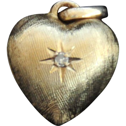 SPECIAL SOMEONE? 14K Yellow Gold Puffy Heart with Diamond
